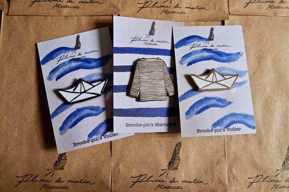 """Set of 3 badges - """"Vacances à la mer"""" Collection"""