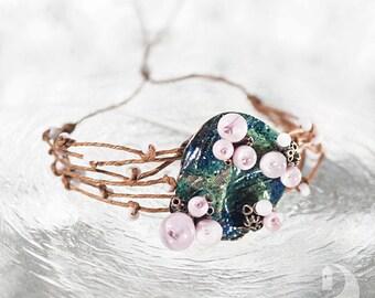 Adjustable bracelet Colorful bracelet Summer bracelet Mermaid Siren Sea Ocean jewelry Travel Floral pink bracelet Flower pink Blue Green