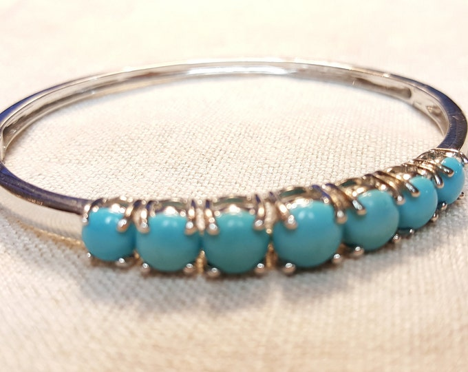 Hinged Sterling Silver Bangle Bracelet with 7 turquoise prong set Stones - Contemporary Vintage