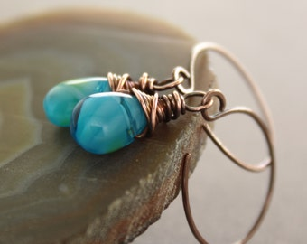 WHILE SUPPLIES LAST - Dangle copper earrings with Tropical ocean blue glass teardrops - Drop earrings - ER009