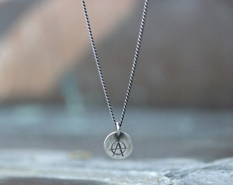 Anarchy Charm Necklace - Silver Anarchy Necklace - Sterling Silver - Biker Jewelry - Tiny Charm Necklace - Oxidized Silver Layering