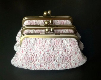 Off White Vintage Cotton Lace over Pink Clutch