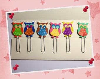 "6 paper clips - bookmark ""OWL"""