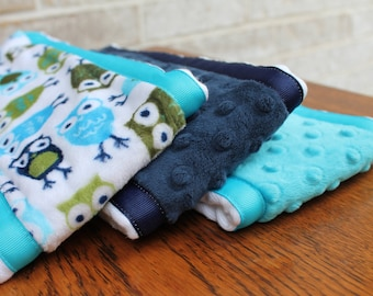 Set of 3 Matching Burp Cloths with Owl Print Minky and Coordinating Navy Dimple Dot Minky and Turquoise Dimple Dot with Ribbon Edging