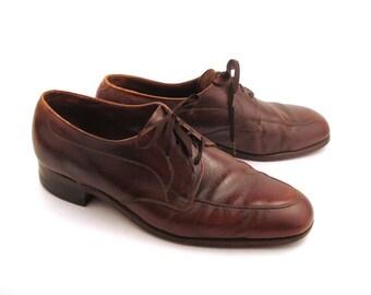 Brown Oxford Shoes Leather Vintage 1960s Florsheim Men's size 11 D