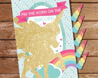 Unicorn Party Game - Pin The Horn On The Unicorn - Unicorn Game - Printable Party Game Instantly Download and Edit at home with Adobe Reader