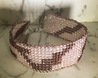 Hand Woven Crystal Choker Necklace .:. Elegant Pink & Purple Crystal Beads - Brilliant - Sparkly - One of a Kind Graduation Gift