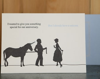 Unicorn - letterpress anniversary card