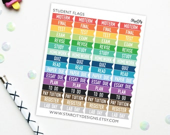 Student Stickers, college student planner, school stickers, school supplies, college student gift, test stickers, study stickers, Multicolor