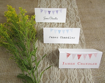 Bunting Wedding Guest Name Cards / rustic /vintage /table place cards /guest seating/ personalised names/ shabby chic / village fete wedding
