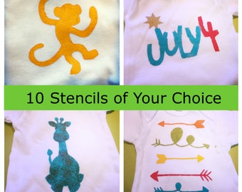 10 Stencils of Your Choice, Custom Stencils, Create Your Own Stencil Set, Onesie Decorating Party, Baby Shower Activity