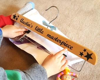 Personalised wooden clip hanger, for children's art
