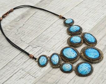 Statement necklace Blue Bib necklace Unique polymer clay necklace Unusual jewelry OOAK necklace Boho necklace