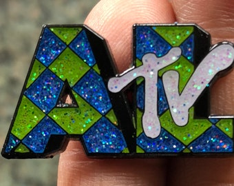 Weird Al Yankovic - AL TV pin - Glitter - Thick Metal - Double Posted
