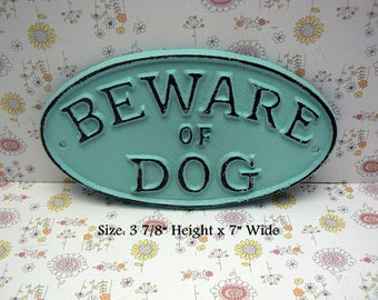 Beware of Dog Oval Cast Iron Sign Smaller Design Coastal Beach Cottage Blue Wall Gate Fence Door House Warning Plaque Shabby Elegance