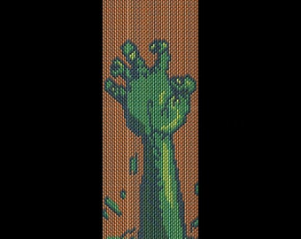 Zombie Bracelet Beading Pattern - Halloween Peyote or Brick Stitch Bracelet Beading Design in a Full-Color Chart - Printable PDF Pattern
