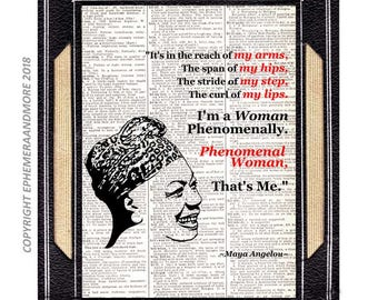 Maya Angelou Phenomenal Woman art print wall decor poster Quote on vintage dictionary book page African American History black red 8x10, 5x7
