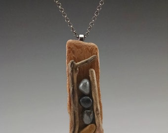 Driftwood and Beach Stone Pendant #11