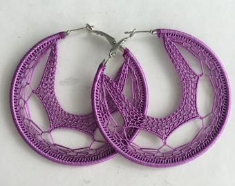 """Crochet hoops  2 1/4"""" in Purple"""