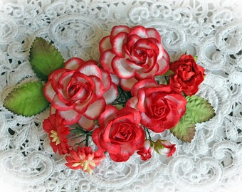 Reneabouquets Roses And Leaves Flower Set-Mulberry Paper Flowers- Red & White Set Of 13 Pieces In Organza Storage Bag