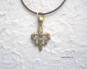 Fleur de Lis pendant antique gold hammered finish lily flower gift for her, GBT317