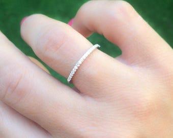 Thin diamond band - CZ eternity band - Thin eternity band - CZ engagement ring - Half round diamond ring