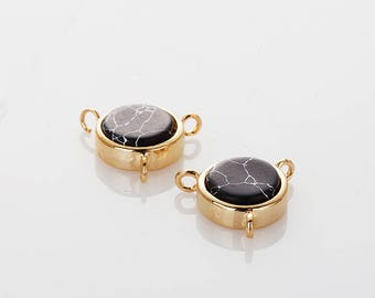7.5mm Black Marble round Necklace Connector Polished Gold- Plated - 2 Pieces [G0239-PGBM]