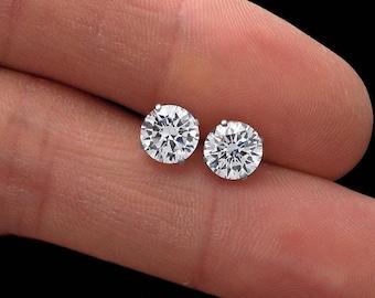 1.88CT Brilliant Diamond Earrings Real 14K White Gold Solitaire Screwback Studs VVS1