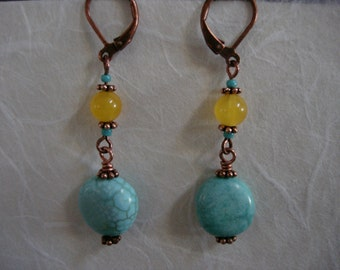 Copper, turquoise and yellow jade drop earrings