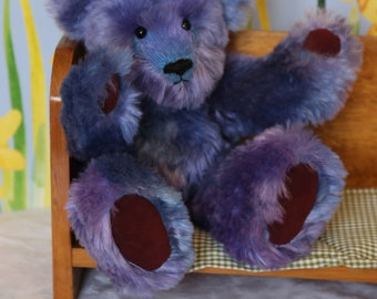 Multi blues mohair bear