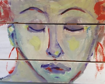 """Original Figurative  PAINTING  in Wood ready to hang 12""""x20"""""""