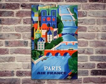 Air France vintage poster. Air France Paris poster.