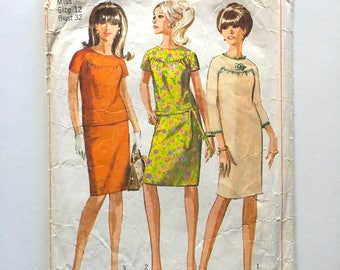 Vintage Sewing Pattern, Women's 60's Simplicity 6870, One or Two-Piece Dress (XS)