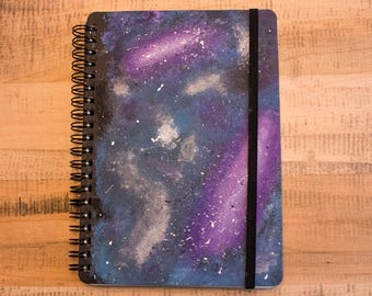 Hand Painted Spiral Bound Galaxy Notebook