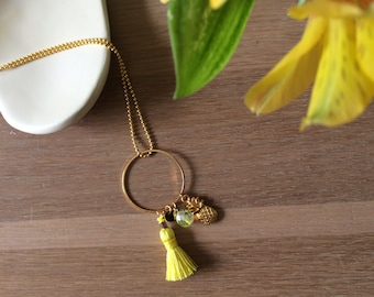 Yellow pineapple necklace