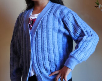 Vtg 80s QUELQUE PART CREATIONS Angora mix Blue Long Sleeves Sweater Cardigan