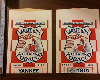 2 Vintage Yankee Girl Tobacco bags NOS new old stock