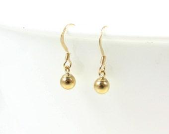 Ball Drop Earrings, Ball Dangle Earrings, Simple Gold Drop Earrings, Minimal Earrings, Sterling Silver or 14k Gold Fill, Understated Jewelry
