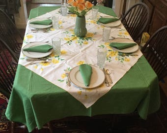 Green Linen \u0026 Yellow Roses Printed Tablecloths Both Vintage Sets with Matching Dinner Napkins 14 piece & Yellow table linens | Etsy