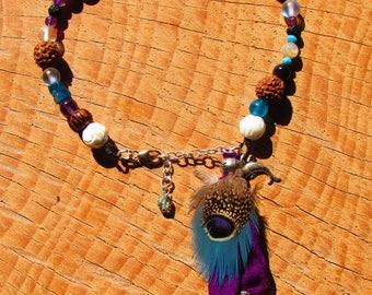 Ethnic ankle bracelet, dolphin, sari, feathers