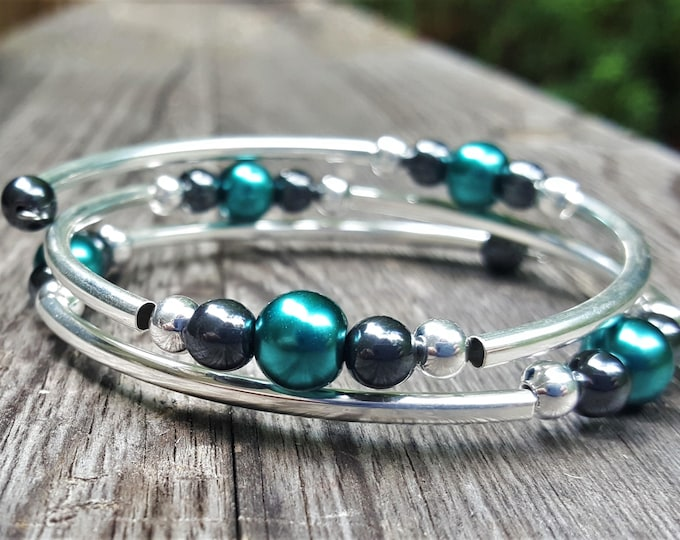 Metallic Aqua Fight Night Memory Wire Bangle