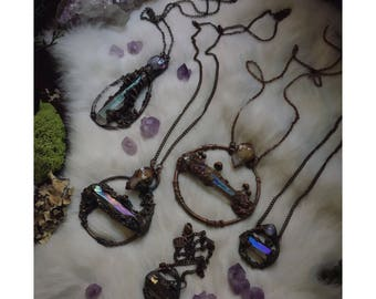 CRYSTAL BRACHES - crystal branches full of mushrooms and woodland magic - Electroformed Copper Sculpted Nature Crystal chokers and Necklaces
