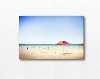 beach canvas coastal beach umbrella photography canvas print 12x18 24x36 nautical decor fine art photography ocean canvas wrap lilac blue