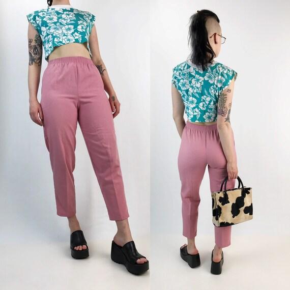 90's High Waist Pink Tapered Leg Cotton Trouser Pants Size Medium - Womens Casual Pants W/ Pockets - Dusty Rose Pink High Waist VTG Pants