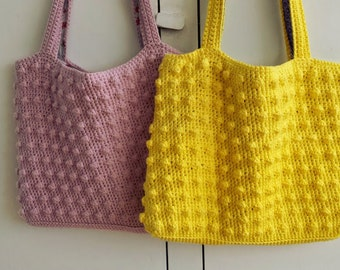 Crochet pattern tote bag / shopper 'Springblossom' with cluster stitch for a luxurious look