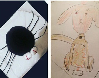 Stuffed animal plush dog,  Stuffed animals, Spider plush toy, Dog plushy, Soft toy dog, Plush toy from kids drawing, Plush toy from picture