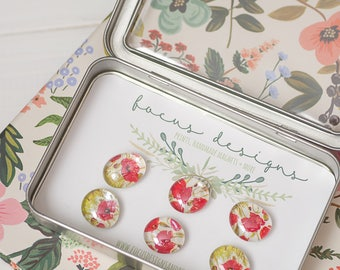 "6 Glass Magnets - Set of Magnets- Floral Magnets - Fridge Magnets ""Poppy"""