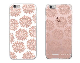Modern Rose Gold Geometric Floral Abstract Phone Case, iPhone 6S Plus, iPhone 7 Case, iPhone 8 Plus, Samsung Galaxy S8 Case, Galaxy S7