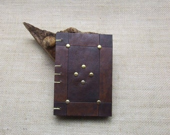 Leather Journal Notebook Medieval style with aged paper A6