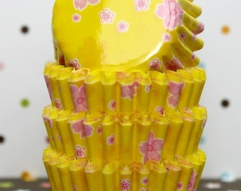 SALE - MIni Cherry Blossom Yellow Cupcake Liners